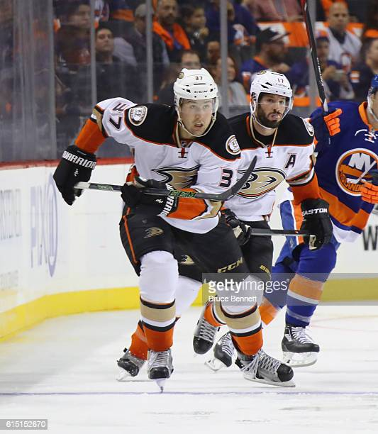 Nick Ritchie of the Anaheim Ducks skates against the New York Islanders at the Barclays Center on October 16 2016 in the Brooklyn borough of New York...
