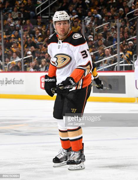 Nick Ritchie of the Anaheim Ducks skates against the Pittsburgh Penguins at PPG Paints Arena on December 23 2017 in Pittsburgh Pennsylvania