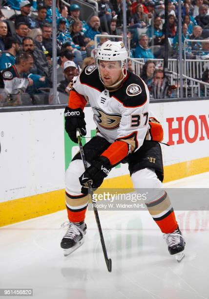 Nick Ritchie of the Anaheim Ducks skates against the San Jose Sharks in Game Four of the Western Conference First Round during the 2018 NHL Stanley...