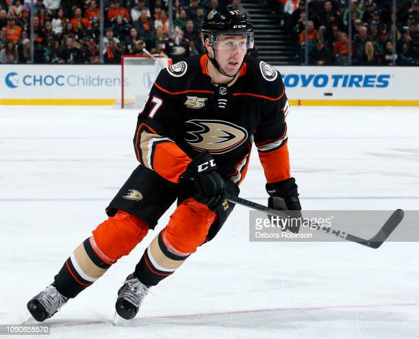 Nick Ritchie of the Anaheim Ducks skates during the game against the Vegas Golden Knights on January 4 2018 at Honda Center in Anaheim California