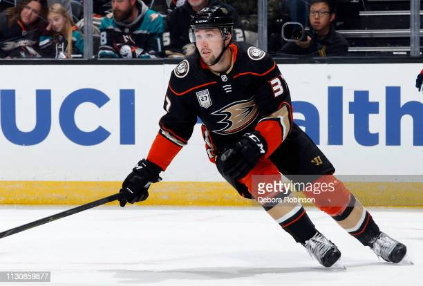 Nick Ritchie of the Anaheim Ducks skates during the game against the Washington Capitals on February 17 2019 at Honda Center in Anaheim California