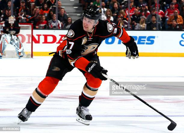 Nick Ritchie of the Anaheim Ducks skates during the game against the Washington Capitals on March 12 2017 at Honda Center in Anaheim California