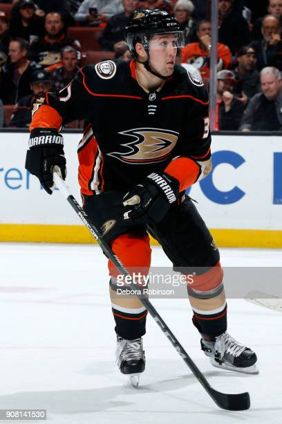 Nick Ritchie of the Anaheim Ducks skates during the game against the Pittsburgh Penguins on January 17 2018 at Honda Center in Anaheim California