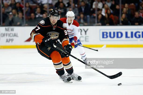 Nick Ritchie of the Anaheim Ducks skates to the puck during a game against the Montreal Canadiens at Honda Center on March 2 2016 in Anaheim...