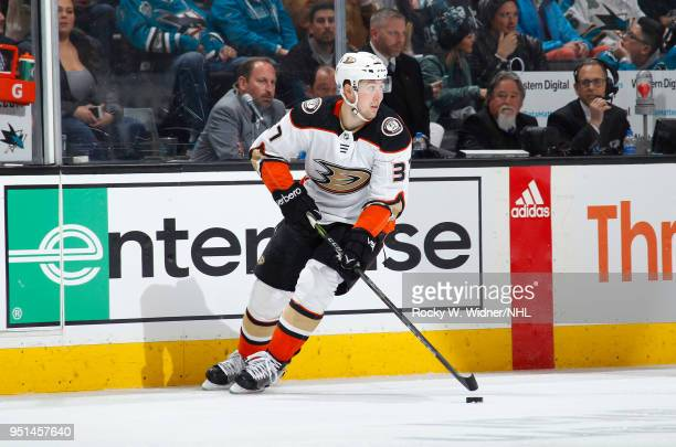 Nick Ritchie of the Anaheim Ducks skates with the puck against the San Jose Sharks in Game Four of the Western Conference First Round during the 2018...