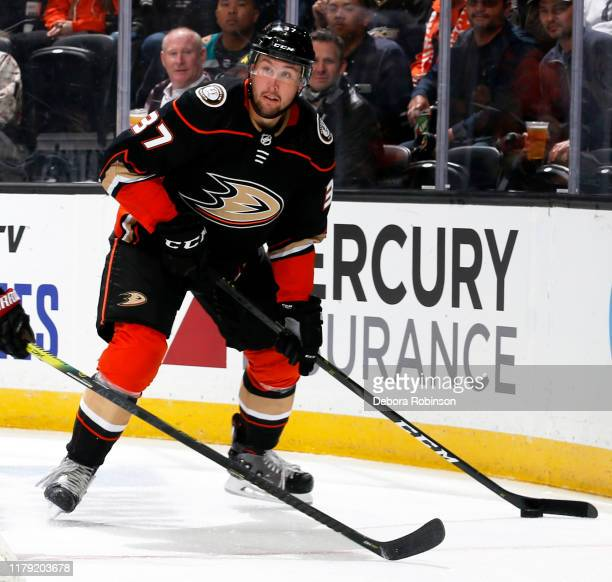 Nick Ritchie of the Anaheim Ducks skates with the puck during the game against the Arizona Coyotes at Honda Center on October 3 2019 in Anaheim...