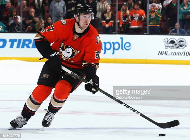 Nick Ritchie of the Anaheim Ducks skates with the puck during the game against the Buffalo Sabres on March 17 2017 at Honda Center in Anaheim...