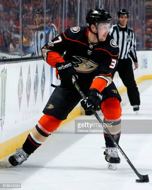 Nick Ritchie of the Anaheim Ducks skates with the puck during the game against the Boston Bruins on November 15 2017 at Honda Center in Anaheim...