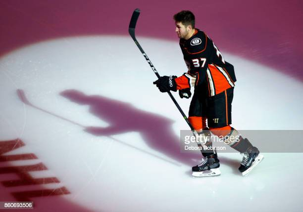 Nick Ritchie of the Anaheim Ducks takes the ice to start the game against the Arizona Coyotes on October 5 2017 at Honda Center in Anaheim California