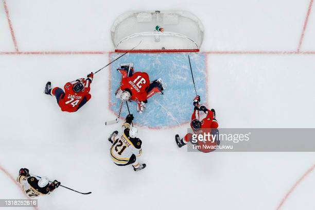 Nick Ritchie of the Boston Bruins scores past Craig Anderson of the Washington Capitals during the second period of Game One of the First Round of...