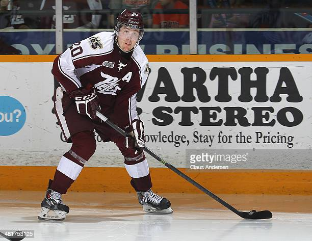 Nick Ritchie of the Peterborough Petes skates with the puck against the Kingston Frontenacs during Game 6 of the OHL Eastern Conference Quarterfinals...
