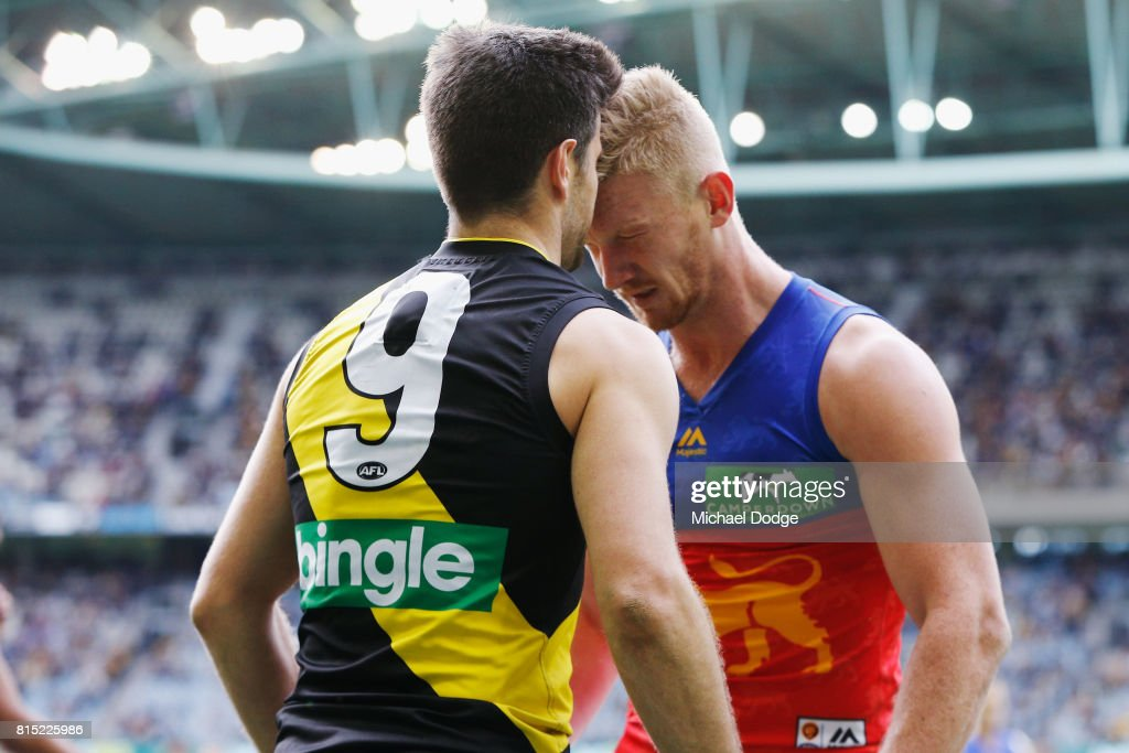 Nick Robertson of the Lions headbutts Trent Cotchin of the Tigers during the round 17 AFL match between the Richmond Tigers and the Brisbane Lions at Etihad Stadium on July 16, 2017 in Melbourne, Australia.