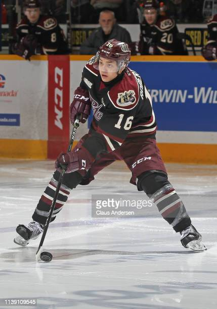 Nick Robertson of the Peterborough Petes handles the puck against the Oshawa Generals during Game Four of the Eastern Conference OHL QuarterFinals at...