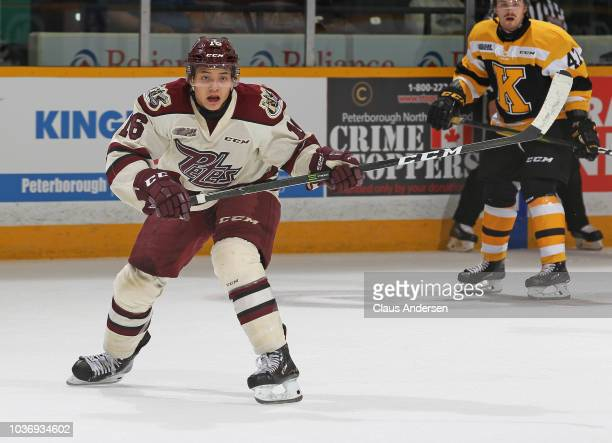 Nick Robertson of the Peterborough Petes skates against the Kingston Frontenacs in an OHL game at the Peterborough Memorial Centre on Sept 20, 2018...