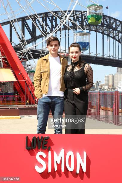 "Nick Robinson and Katherine Langford attend a photo call for ""Love, Simon"" on March 20, 2018 in Sydney, Australia."