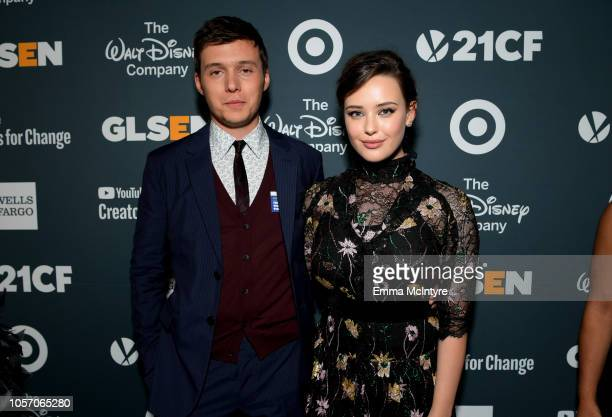 Nick Robinson and Katherine Langford attend the GLSEN Respect Awards at the Beverly Wilshire Four Seasons Hotel on October 19 2018 in Beverly Hills...