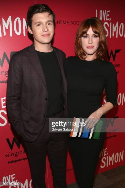 "Nick Robinson and Molly Ringwald attend 20th Century Fox & Wingman host a screening of ""Love, Simon"" on March 8, 2018 in New York City."