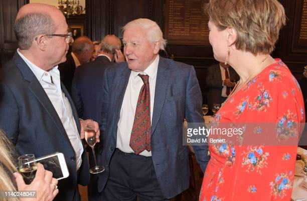 Nick Robinson Sir David Attenborough and Kate Silverton attend the London Press Club Awards 2019 at Stationers' Hall on April 30 2019 in London...