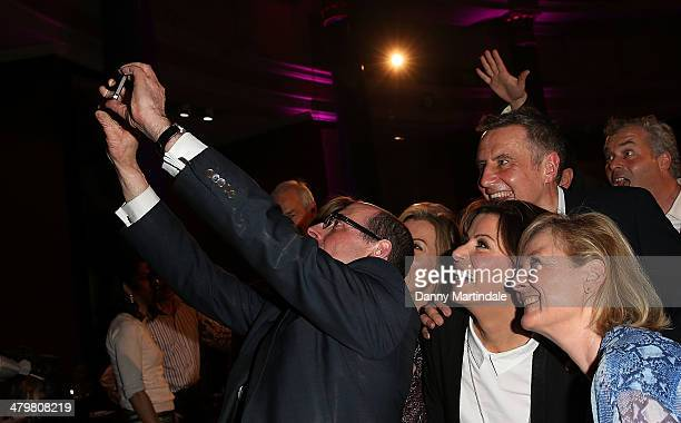 Nick Robinson takes a 'selfie' with news readers Mary Nightingale Natasha Kaplinsky Jon Snow Dermot Murnaghan Jon Sopel Emily Maitlis and Alastair...