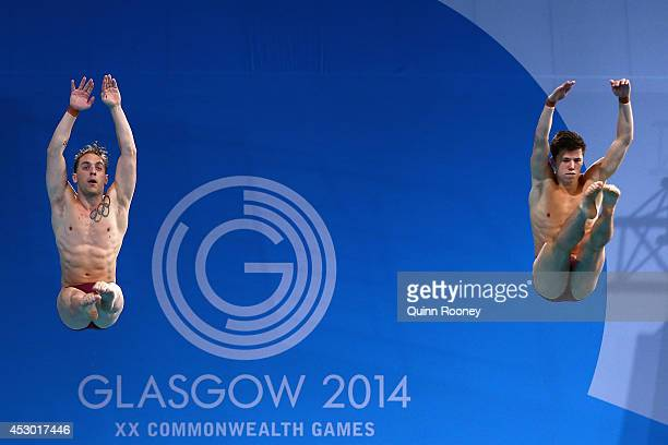 Nick RobinsonBaker and Freddie Woodward of England compete in the Men's Synchronised 3m Springboard Final at Royal Commonwealth Pool during day nine...