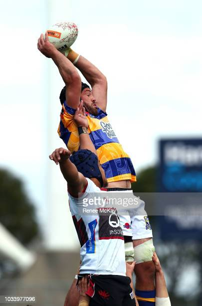 Nick Ross wins the line out for BOP during the round five Mitre 10 Cup match between North Harbour and Bay of Plenty at QBE Stadium on September 16...