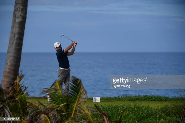 Nick Rousey plays his shot from the 14th tee during the first round of the Webcom Tour's The Bahamas Great Exuma Classic at Sandals Emerald Bay...