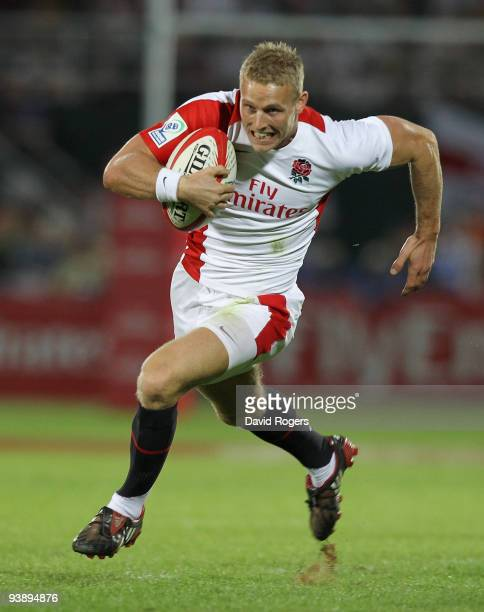 Nick Royle of England races away to score a try against Kenya during the IRB Sevens tournament at the Dubai Sevens Stadium on December 4 2009 in...
