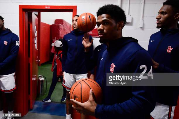 Nick Rutherford of the St. John's Red Storm waits to take the court prior to the game against the Columbia Lions at Carnesecca Arena on November 20,...