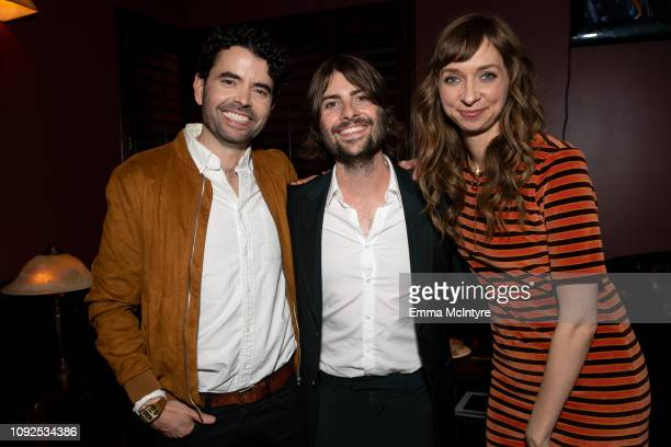 Nick Rutherford Robert Schwartzman and Lauren Lapkus attend the after party for 'The Unicorn' at FotoKem Hollywood on January 10 2019 in Hollywood...