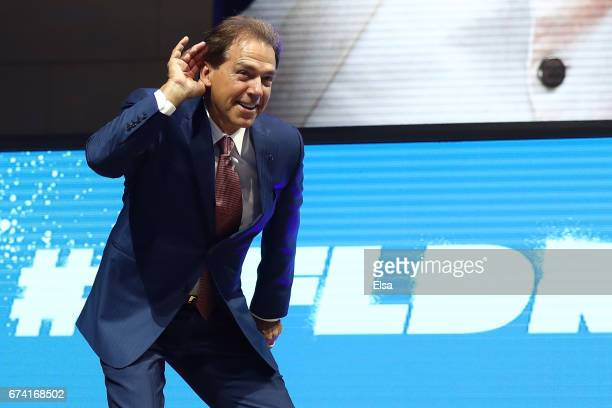 Nick Saban head football coach at the University of Alabama poses on stage prior to the first round of the 2017 NFL Draft at the Philadelphia Museum...