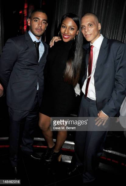 Nick Sagar, Alexandra Burke and Michael Sagar attend as W London-Leicester Square hosts an after party following the World Premiere of 'iLL Manors'...