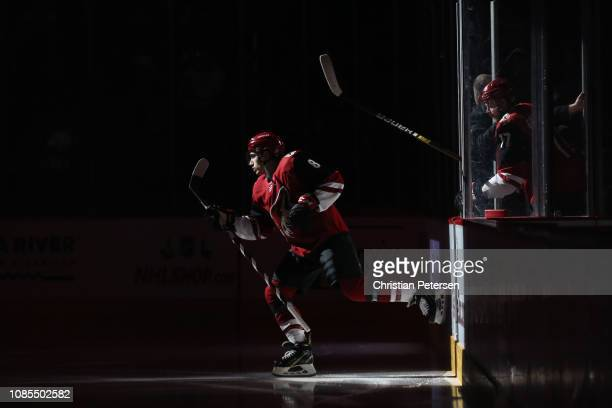 Nick Schmaltz of the Arizona Coyotes skates out onto the ice before the NHL game against the Montreal Canadiens at Gila River Arena on December 20...
