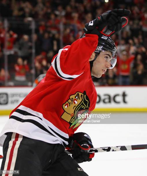 Nick Schmaltz of the Chicago Blackhawks celebrates his goahead goal in a shootout against the Ottawa Senators at the United Center on February 21...
