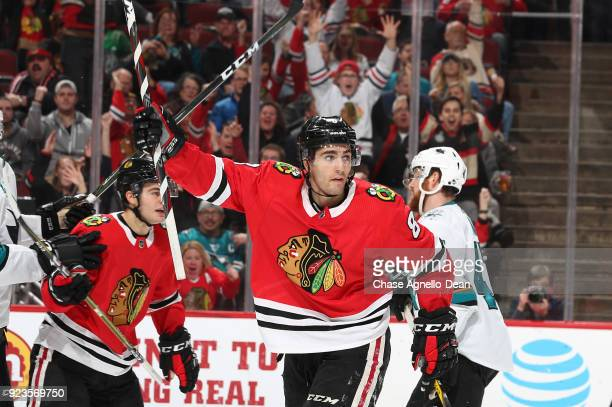 Nick Schmaltz of the Chicago Blackhawks reacts after the Blackhawks scored against the San Jose Sharks in the second period at the United Center on...
