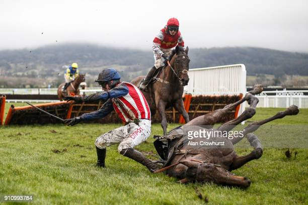 Nick Scholfield falls from De Rasher Counter at the last in The Ballymore Classic Novicesâ Hurdle Race at Cheltenham racecourse on January 27 2018 in...