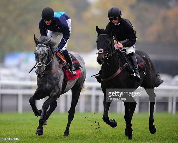 Nick Scholfield on board Aux Ptits Soins and Harry Cobden on board Zubayr at Chepstow Racecourse on October 25 2016 in Chepstow Wales