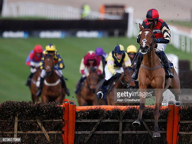 Nick Scholfield riding Copain De Classe clear the last to win The Grand Slam Of Darts At 188Bet Novices' Hurdel Race at Chepstow Racecourse on...
