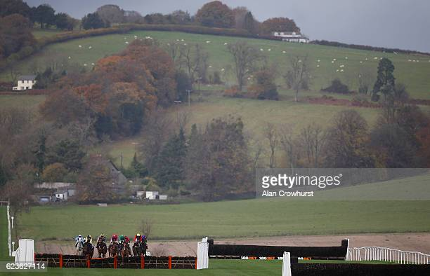 Nick Scholfield riding Copain De Classe clear the second last to win The Grand Slam Of Darts At 188Bet Novices' Hurdel Race at Chepstow Racecourse on...
