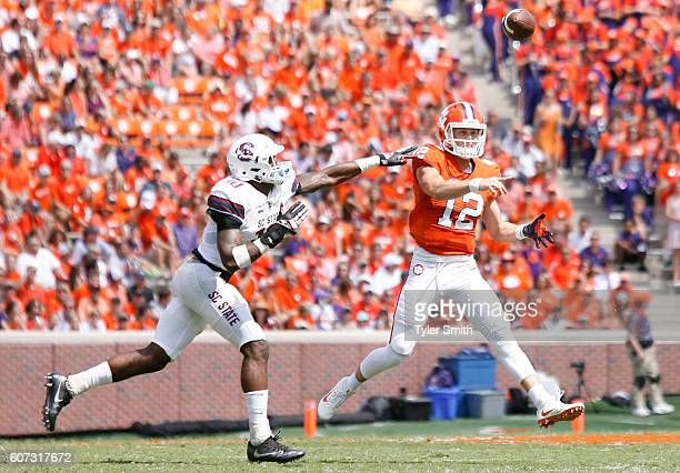 Nick Schuessler of the Clemson Tigers passes during the game against the SC State Bulldogs at Memorial Stadium on September 17 2016 in Clemson South...