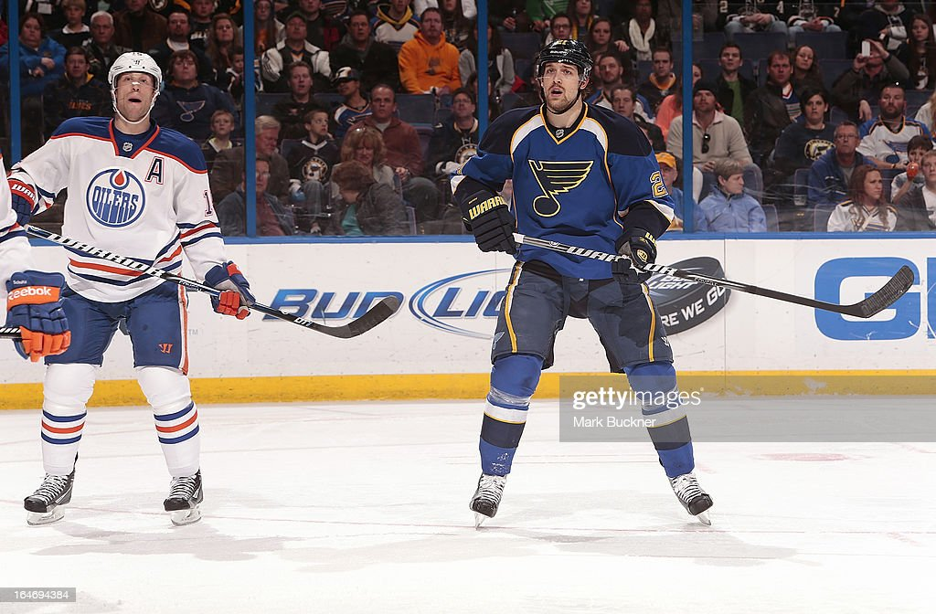 Nick Schultz #15 of the Edmonton Oilers skates against Patrik Berglund #21 of the St. Louis Blues in an NHL game on March 26, 2013 at Scottrade Center in St. Louis, Missouri.