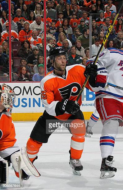 Nick Schultz of the Philadelphia Flyers in action against the New York Rangers on January 16, 2016 at the Wells Fargo Center in Philadelphia,...