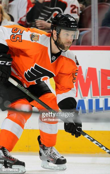 Nick Schultz of the Philadelphia Flyers looks on against the St Louis Blues on February 6, 2017 at the Wells Fargo Center in Philadelphia,...