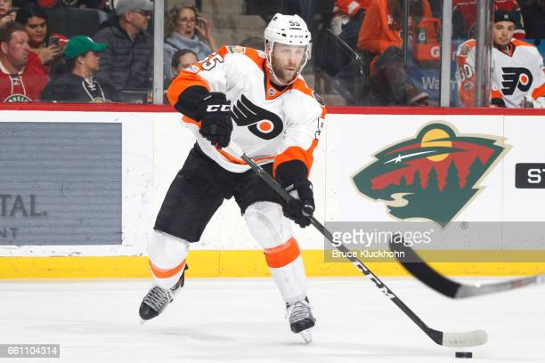 Nick Schultz of the Philadelphia Flyers passes the puck against the Minnesota Wild during the game on March 23, 2017 at the Xcel Energy Center in St....