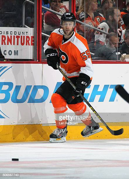 Nick Schultz of the Philadelphia Flyers skates after the loose puck against the New York Rangers on January 16, 2016 at the Wells Fargo Center in...