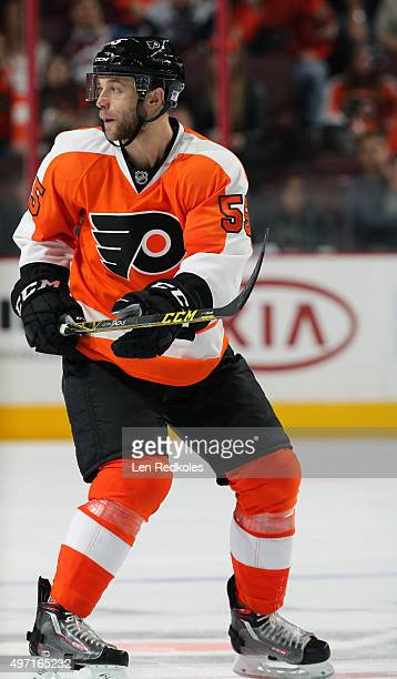 Nick Schultz of the Philadelphia Flyers skates against the Colorado Avalanche on November 10, 2015 at the Wells Fargo Center in Philadelphia,...