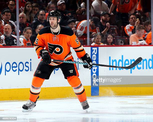 Nick Schultz of the Philadelphia Flyers skates in the second period against the Pittsburgh Penguins on April 5, 2015 at the Wells Fargo Center in...