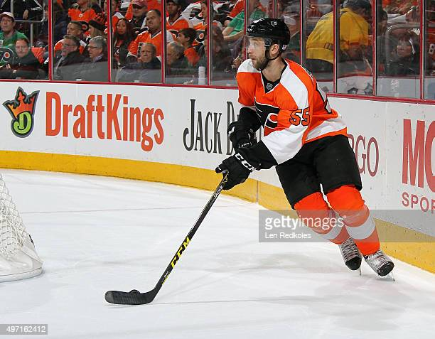 Nick Schultz of the Philadelphia Flyers skates the puck against the Colorado Avalanche on November 10, 2015 at the Wells Fargo Center in...