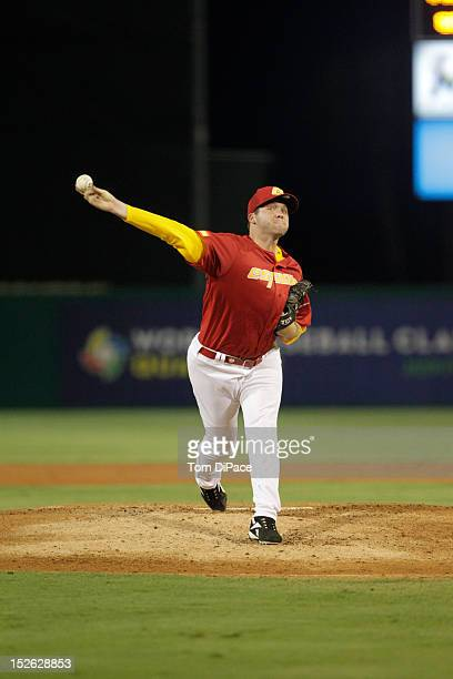 Nick Schumacher of Team Spain pitches against Team France during game 2 of the Qualifying Round of the 2013 World Baseball Classic at Roger Dean...