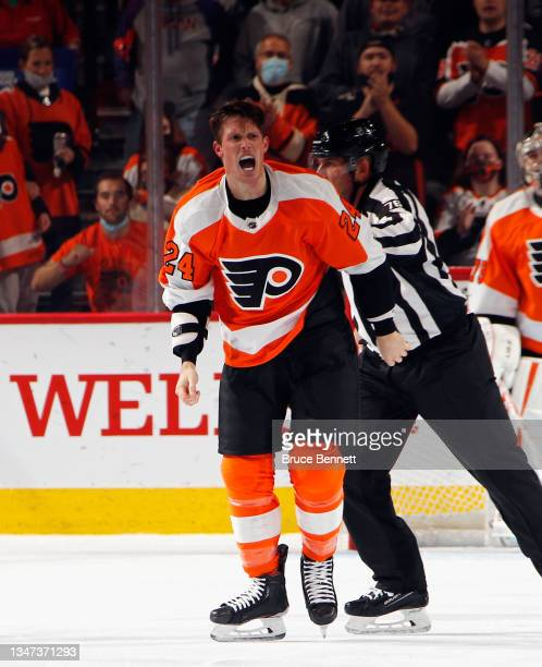 Nick Seeler of the Philadelphia Flyers reacts following his second period fight against Jamie Oleksiak of the Seattle Kraken at the Wells Fargo...