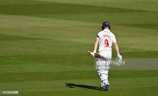 Nick Selman leaves the field dejected after being given out LBW to Ollie Robinson for no score during day one of the LV= County Championship match...